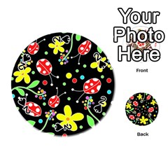 Flowers And Ladybugs Playing Cards 54 (round)  by Valentinaart