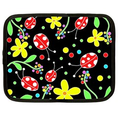 Flowers And Ladybugs Netbook Case (large) by Valentinaart