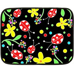 Flowers And Ladybugs Double Sided Fleece Blanket (mini)  by Valentinaart