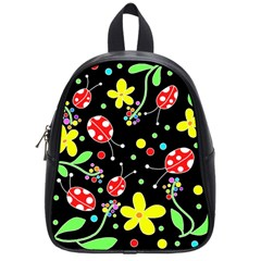 Flowers And Ladybugs School Bags (small)  by Valentinaart