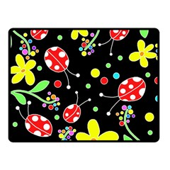 Flowers And Ladybugs Fleece Blanket (small) by Valentinaart