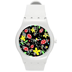 Flowers And Ladybugs Round Plastic Sport Watch (m) by Valentinaart
