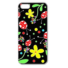 Flowers And Ladybugs Apple Seamless Iphone 5 Case (clear) by Valentinaart