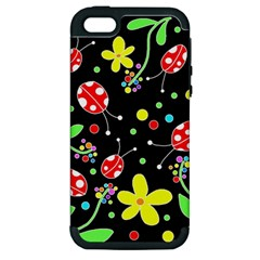 Flowers And Ladybugs Apple Iphone 5 Hardshell Case (pc+silicone) by Valentinaart