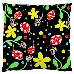 Flowers And Ladybugs Standard Flano Cushion Case (one Side) by Valentinaart