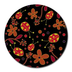 Flowers And Ladybugs 2 Round Mousepads by Valentinaart