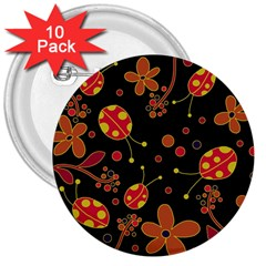 Flowers And Ladybugs 2 3  Buttons (10 Pack)  by Valentinaart