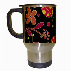 Flowers And Ladybugs 2 Travel Mugs (white) by Valentinaart
