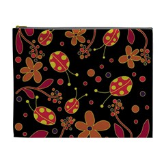 Flowers And Ladybugs 2 Cosmetic Bag (xl) by Valentinaart