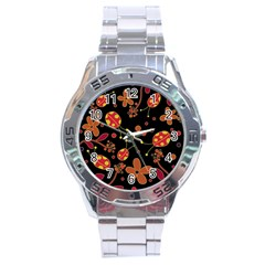 Flowers And Ladybugs 2 Stainless Steel Analogue Watch by Valentinaart