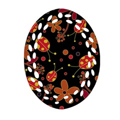Flowers And Ladybugs 2 Oval Filigree Ornament (2-side)  by Valentinaart