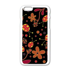 Flowers And Ladybugs 2 Apple Iphone 6/6s White Enamel Case by Valentinaart