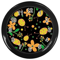 Ladybugs And Flowers 3 Wall Clocks (black) by Valentinaart