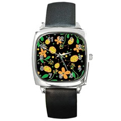 Ladybugs And Flowers 3 Square Metal Watch by Valentinaart