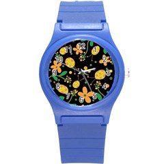 Ladybugs And Flowers 3 Round Plastic Sport Watch (s) by Valentinaart