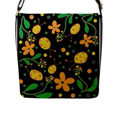 Ladybugs And Flowers 3 Flap Messenger Bag (l)  by Valentinaart