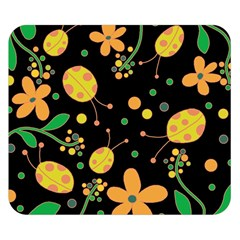 Ladybugs And Flowers 3 Double Sided Flano Blanket (small)