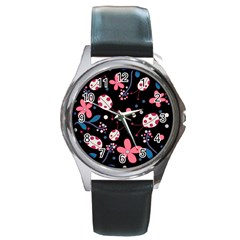 Pink Ladybugs And Flowers  Round Metal Watch by Valentinaart