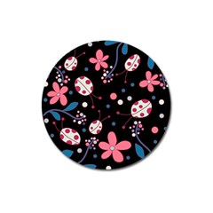 Pink Ladybugs And Flowers  Magnet 3  (round) by Valentinaart
