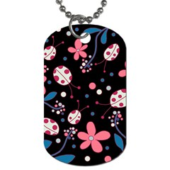 Pink Ladybugs And Flowers  Dog Tag (one Side) by Valentinaart