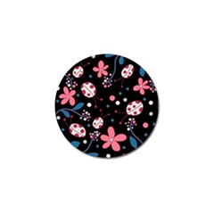 Pink Ladybugs And Flowers  Golf Ball Marker (4 Pack) by Valentinaart