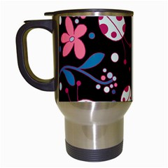Pink Ladybugs And Flowers  Travel Mugs (white) by Valentinaart