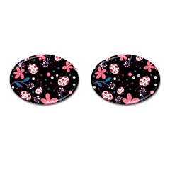 Pink Ladybugs And Flowers  Cufflinks (oval) by Valentinaart