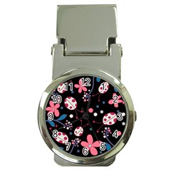 Pink Ladybugs And Flowers  Money Clip Watches by Valentinaart