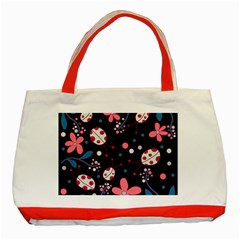 Pink Ladybugs And Flowers  Classic Tote Bag (red) by Valentinaart