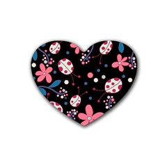 Pink Ladybugs And Flowers  Rubber Coaster (heart)  by Valentinaart