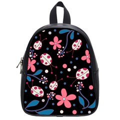 Pink Ladybugs And Flowers  School Bags (small)  by Valentinaart