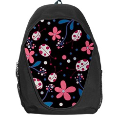 Pink Ladybugs And Flowers  Backpack Bag by Valentinaart