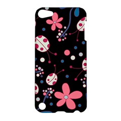 Pink Ladybugs And Flowers  Apple Ipod Touch 5 Hardshell Case by Valentinaart