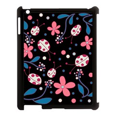 Pink Ladybugs And Flowers  Apple Ipad 3/4 Case (black) by Valentinaart