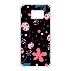 Pink Ladybugs And Flowers  Samsung Galaxy S7 Edge White Seamless Case by Valentinaart