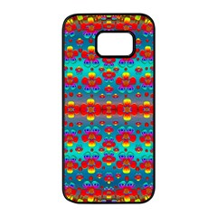 Peace Flowers And Rainbows In The Sky Samsung Galaxy S7 Edge Black Seamless Case by pepitasart