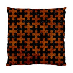 Puzzle1 Black Marble & Brown Marble Standard Cushion Case (two Sides) by trendistuff