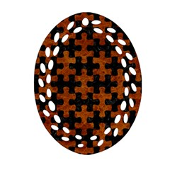 Puzzle1 Black Marble & Brown Marble Ornament (oval Filigree) by trendistuff