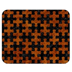 Puzzle1 Black Marble & Brown Marble Double Sided Flano Blanket (medium) by trendistuff