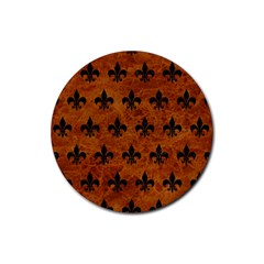 Royal1 Black Marble & Brown Marble Rubber Round Coaster (4 Pack)