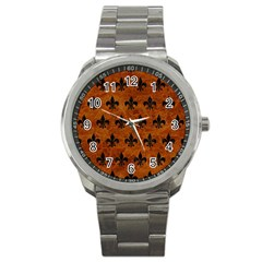 Royal1 Black Marble & Brown Marble Sport Metal Watch by trendistuff