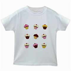 Colorful Cupcakes  Kids White T Shirts by Valentinaart