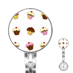 Colorful Cupcakes  Stainless Steel Nurses Watch by Valentinaart