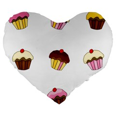 Colorful Cupcakes  Large 19  Premium Flano Heart Shape Cushions