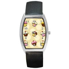 Colorful Cupcakes Pattern Barrel Style Metal Watch by Valentinaart