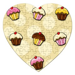 Colorful Cupcakes Pattern Jigsaw Puzzle (heart) by Valentinaart