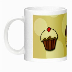 Colorful Cupcakes Pattern Night Luminous Mugs by Valentinaart