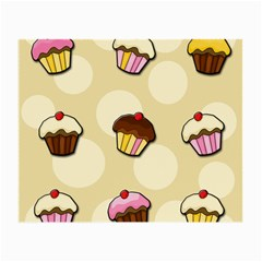 Colorful Cupcakes Pattern Small Glasses Cloth