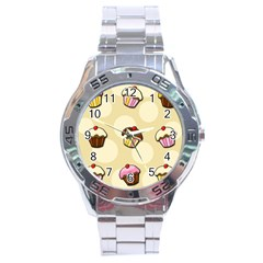 Colorful Cupcakes Pattern Stainless Steel Analogue Watch by Valentinaart