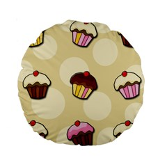Colorful Cupcakes Pattern Standard 15  Premium Round Cushions by Valentinaart